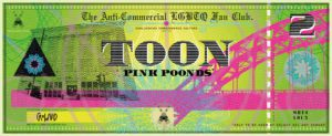 Digital illustration of a stylised green and pink banknote
